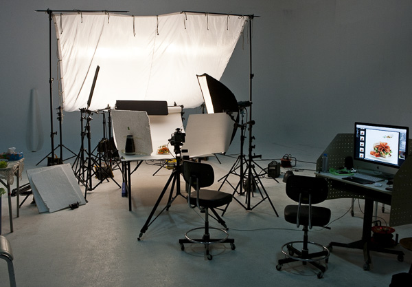 Food advertising photographic studio setup